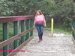 Big heavy tits in a public place