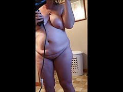 My Downcast BBW Blow Drying Her Hair