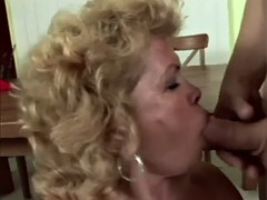 blonde granny blowing fat cock