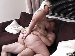 Blonde BBW rides cheating cock