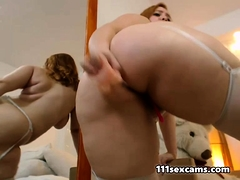 Tyro BBW camgirl with fat ass with an increment of beamy tits on webcam