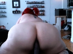 Redhead BBW puts yon the brush giant ass big dildo
