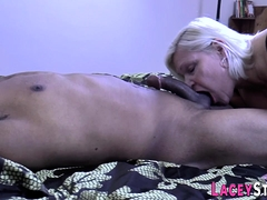 Interracial hardcore mating for horny granny