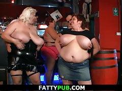 Big tits gang in the bbw bar
