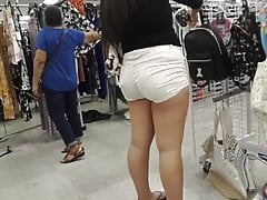 PAWG shopping in really niggardly white booty shorts