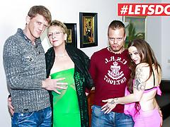 LETSDOEIT - Hot German Foursome Sex with Gorgeous MILFs
