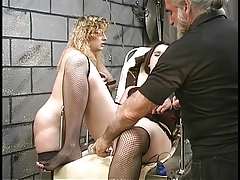 Cute thick lesbian bdsm girls with hairy bushes play with vibrators in basement