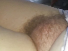 exposing the wifes big round hairy mound