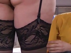 Big titted BBW mature analized by young cock