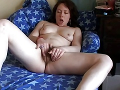Fat Chubby Teen with hairy pussy masturbating and orgasming