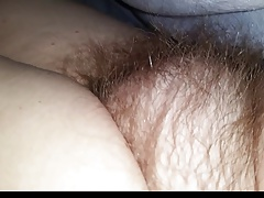 closeup of the wifes soft hairy pussy under the sheets