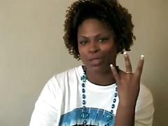 Ebony Gives A Peek And A Handjob