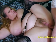 Busty wife with hairy pussy takes it up her ass