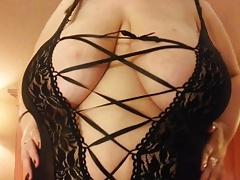 all-natural BBW in black lingerie