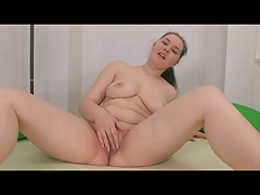 Horny Chubby Plumper ex GF playing with her shaven pussy