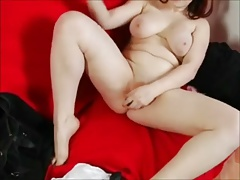 Very Horny Obese Teen cumming with Big Dildo