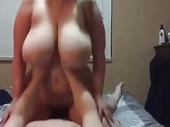 Obese tits riding dick