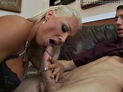 Blonde Cougar in the matter of Lingerie loves big Dick