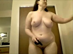 Sexy chubby chick cums with trifle while standing
