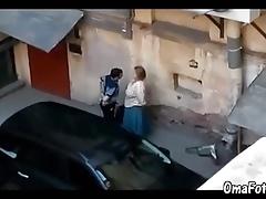 OmaFotzE Amateur Grandma Sex in an obstacle Back Alleyway