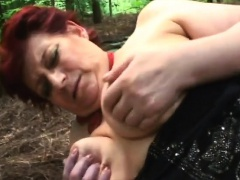 Fat granny Tamara gets roughly banged in woods